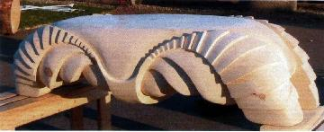 "Carved wood bench ""Sundown"""